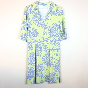 J. McLaughlin Stretch Green Lavender Dress S